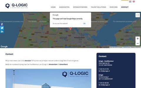 Screenshot of Contact Page q-logic.nl - Contact - Q-logic - captured Sept. 25, 2018
