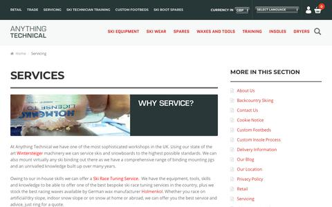 Screenshot of Services Page skiequipmentuk.co.uk - Servicing - Anything Technical - captured Oct. 3, 2018