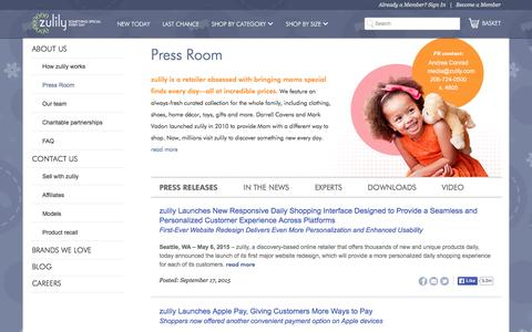 Screenshot of Press Page zulily.com - In The News | zulily - captured Dec. 2, 2015
