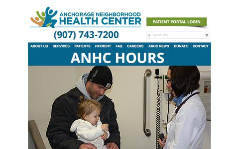 Screenshot of Hours Page anhc.org - Anchorage Neighborhood Health Center   Welcome to ANHC!   ANHC Hours - captured Oct. 8, 2017