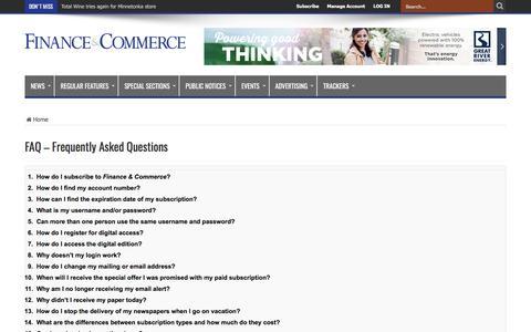 Screenshot of FAQ Page finance-commerce.com - FAQ – Frequently Asked Questions – Finance & Commerce - captured Feb. 20, 2017