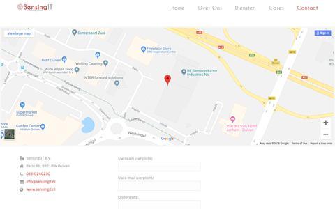 Screenshot of Contact Page sensingit.nl - Contact - Sensing IT - captured Sept. 20, 2018