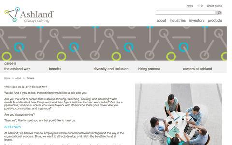 Screenshot of Jobs Page ashland.com - Ashland | Careers - captured Nov. 10, 2016