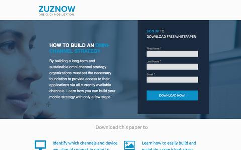 Screenshot of Landing Page zuznow.com - How to build an omni-channel strategy - captured Jan. 26, 2017