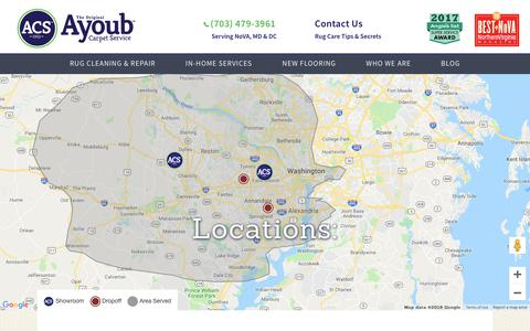 Screenshot of Locations Page rugcare.com - Visit our locations in Falls Church, Chantilly, Fairfax, Winchester and Alexandria. | The Original Ayoub Carpet Service - captured Oct. 4, 2018