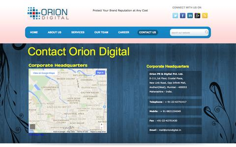 Screenshot of Contact Page oriondigital.in - Digital Marketing agency in Hyderabad | Social media agencies in Delhi NCR | Social media agency in Mumbai - captured Oct. 26, 2014