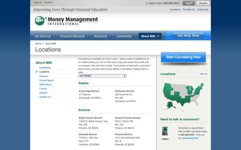 Screenshot of Locations Page moneymanagement.org - Money Management International Locations - Money Management - captured Sept. 23, 2014