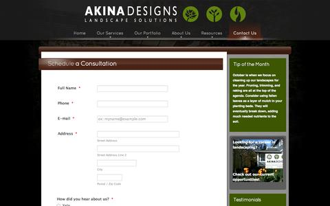 Screenshot of Contact Page akinadesigns.com - Schedule a Consultation - Akina Designs - captured Oct. 29, 2014