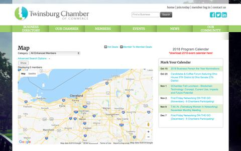 Screenshot of Maps & Directions Page twinsburgchamber.com - Map - Twinsburg Chamber of Commerce, OH - captured Oct. 20, 2018