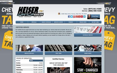 Screenshot of Services Page heiserchevrolet.com - Heiser Chevrolet | Service For West Allis & Milwaukee Chevy Drivers - captured Dec. 9, 2015
