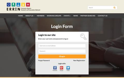 Screenshot of Login Page errin.eu - Log in | ERRIN Network - captured July 15, 2018