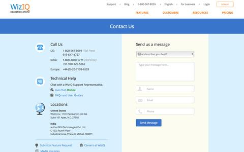 Screenshot of Contact Page wiziq.com - Contact Us | 24/7 WizIQ Support - captured July 3, 2016
