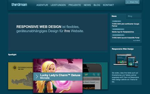 Screenshot of Home Page thirdman.at - THIRD MAN Online Marketing Agentur Wien - Webdesign, Social Media - captured Sept. 23, 2014