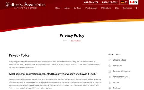 Screenshot of Privacy Page poltenassociates.com - Privacy Policy | Polten & Associates, Lawyers and Notaries | Toronto - captured July 20, 2018