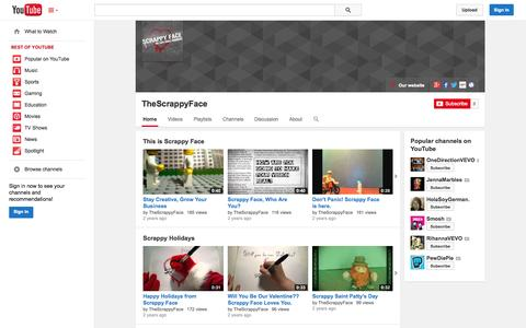 Screenshot of YouTube Page youtube.com - TheScrappyFace  - YouTube - captured Oct. 26, 2014