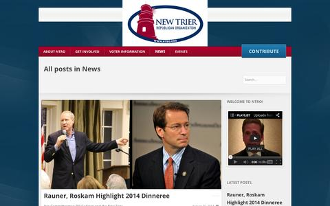 Screenshot of Press Page ntro.org - News - New Trier Republican Organization - William J. Cadigan, Committeeman - captured Oct. 7, 2014