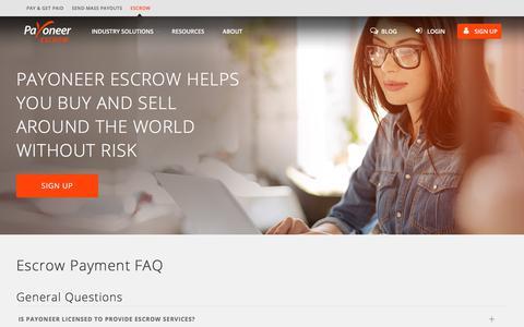 Screenshot of FAQ Page payoneer.com - FAQs | Payoneer Escrow - captured July 30, 2018