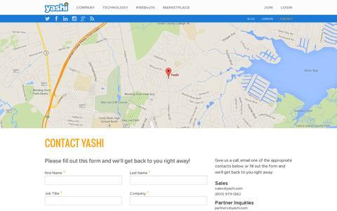 Screenshot of Contact Page yashi.com - Contact Yashi | Yashi - captured July 18, 2014