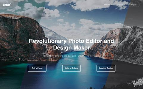 Screenshot of Home Page fotor.com - Online Photo Editor | Fotor – Free Image Editor & Graphic Design - captured May 24, 2019