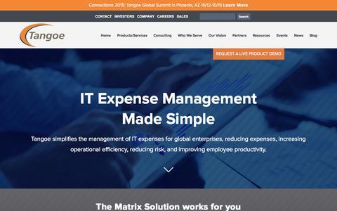 Screenshot of Home Page tangoe.com - IT Expense Management | IT Asset Management Software - Tangoe, Inc. - captured Sept. 19, 2015
