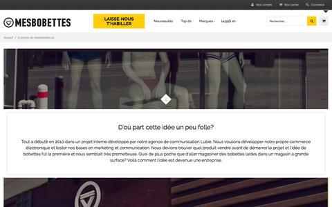 Screenshot of About Page mesbobettes.ca - À propos de mesbobettes.ca - captured Oct. 27, 2014