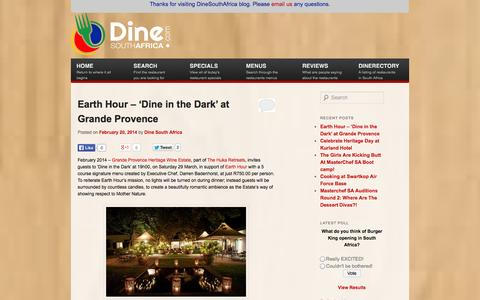 Screenshot of Blog dinesouthafrica.com - DineSouthAfrica.com Blog - captured Oct. 5, 2014