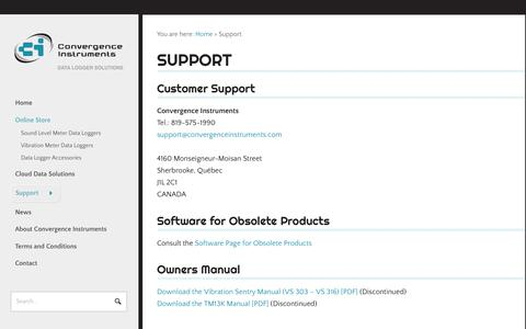 Screenshot of Support Page convergenceinstruments.com - Support - Convergence InstrumentsConvergence Instruments - captured July 22, 2018