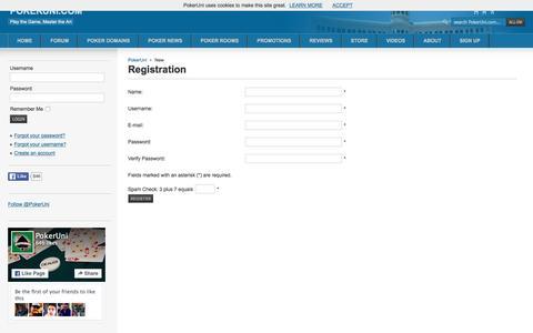 Screenshot of Signup Page pokeruni.com - Registration - captured Dec. 10, 2015