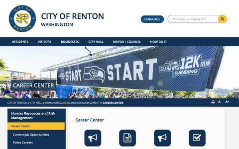 Screenshot of Jobs Page rentonwa.gov - Career Center  - City of Renton - captured Sept. 28, 2018