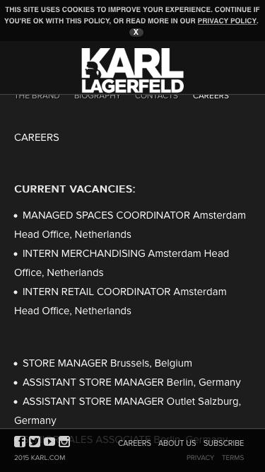 Screenshot of Jobs Page  karl.com - Careers - Karl Lagerfeld