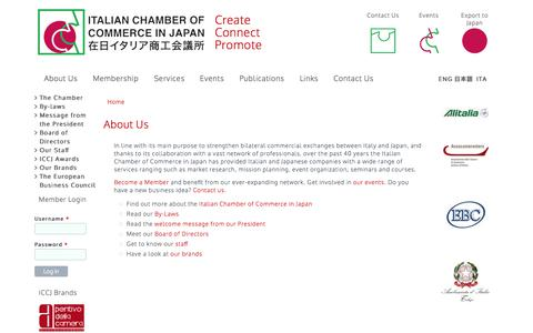 Screenshot of About Page iccj.or.jp - Italian Chamber of Commerce Japan - captured Oct. 6, 2014