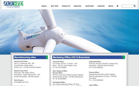 Screenshot of Contact Page inoxwind.com - Contact Us | Inox Wind - captured Feb. 11, 2016