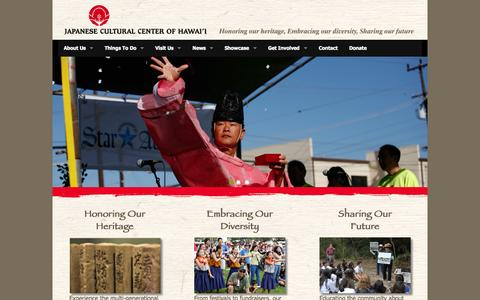 Screenshot of Home Page jcch.com - Japanese Cultural Center of Hawai'i - captured Oct. 6, 2014