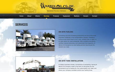 Screenshot of Services Page alwarrenoil.com - Services «  Al Warren Oil - captured Oct. 4, 2014