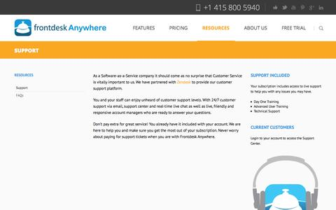Screenshot of Support Page frontdeskanywhere.com - Hotel management software support and training - captured Sept. 19, 2014