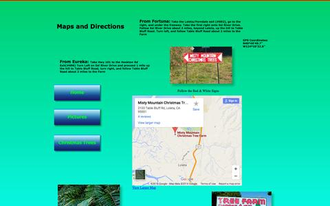 Screenshot of Maps & Directions Page mistymttreefarm.com - Maps and Directions - captured Feb. 18, 2016