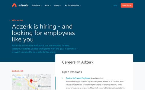 Screenshot of Jobs Page adzerk.com - Adzerk Careers | Adzerk - captured July 14, 2019