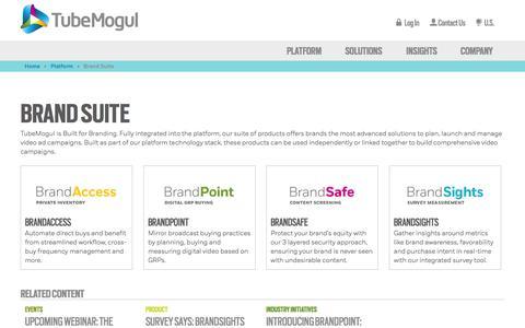 Screenshot of Products Page tubemogul.com - Brand Suite Video Advertising Software | TubeMogul - captured Sept. 12, 2014