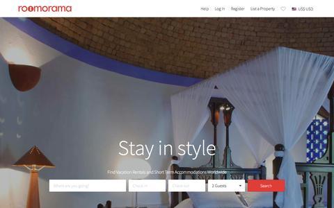 Screenshot of Home Page roomorama.com - Vacation Rentals, Short Term Holiday Homes & HomeStay - Roomorama - captured Jan. 13, 2016