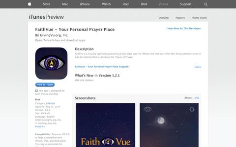 Screenshot of iOS App Page apple.com - FaithVue - Your Personal Prayer Place on the App Store on iTunes - captured Oct. 22, 2014