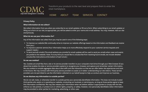 Screenshot of Privacy Page cdmc.info - Privacy Policy | CDMC Carpe Diem Management and Consulting - captured Oct. 2, 2014