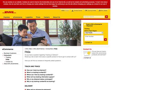 Screenshot of FAQ Page dhl.co.in - DHL | FAQs | English - captured Dec. 23, 2016