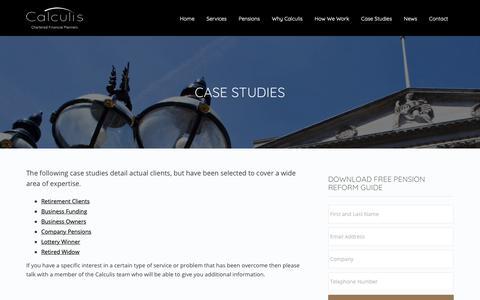 Screenshot of Case Studies Page calculis.co.uk - Case Studies - Calculis - captured Sept. 30, 2018