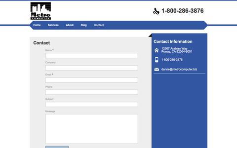 Screenshot of Contact Page metrocomputer.biz - Contact | Metro Computer - captured Sept. 20, 2018