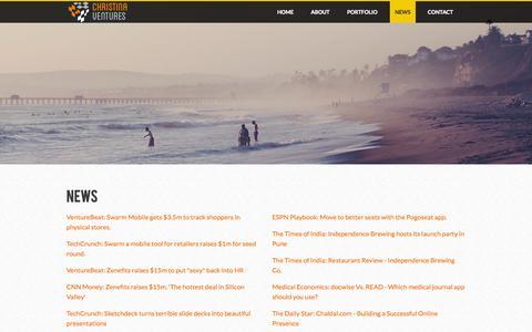 Screenshot of Press Page christinaventures.com - News - Christina Ventures - captured Sept. 29, 2014