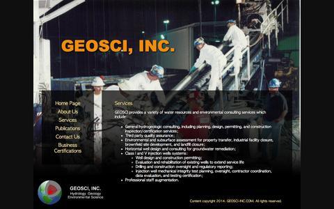 Screenshot of Services Page geosci-inc.com - Services - captured Sept. 26, 2014