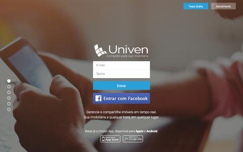 Screenshot of Home Page univenweb.com.br - Sistema Imobiliário Univen - A sua Imobiliária a qualquer hora em qualquer lugar. - captured Nov. 19, 2017