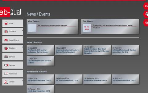 Screenshot of Press Page eb-qual.ch - News / Events - eb-Qual SA - captured Oct. 3, 2014