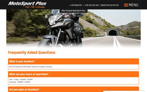 Screenshot of FAQ Page motosportplus.com - Faq | MotoSport Plus | Kingston Ontario - captured Oct. 20, 2018