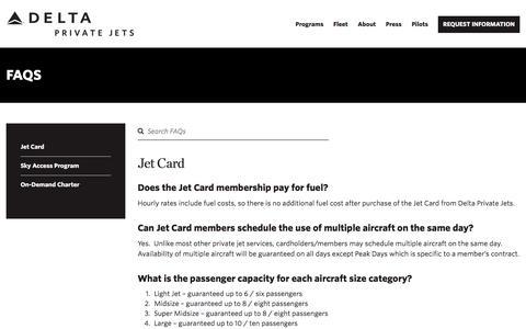 Screenshot of FAQ Page deltaprivatejets.com - FAQs | Delta Private Jets - captured Sept. 17, 2019